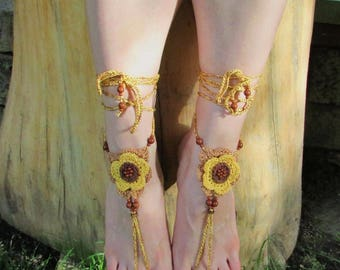 Summer crocheted barefoot sandals with flower motive in natural shades of brown decorated with beads, Boho barefoot, Hippie barefoot jewelry