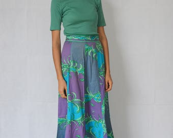 EMILIO PUCCI SKIRT -paneled, maxi, long, green, purple, blue, 70s, floral, abstract brush print, boho, festival, hippie, couture, designer-