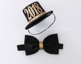 Top Hat and  Bow Tie Set,Boy Birthday Hat,Boy Bow tie,New Years Eve Hat,baby happy new year hat,New Years Eve Party Hat,New Years Eve Crown