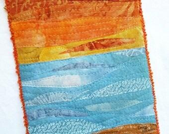 Ocean Sunset Fiber Art / Fiber Art / Ocean Art Landscape / Beach Wall Art / Quilted Wall Hanging / Gifts for Quilters / Landscape Quilts