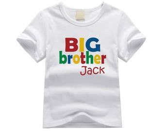 Personalized big brother shirt. Big brother primary colors theme. Block letters big brother shirt. Big brother announcement.  big brother