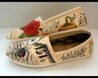 Bride's Love Story Shoes Halloween Wedding Shoes Skulls and Roses Hand Painted Goth Wedding TOMS Folk Art Painting Custom Wedding Shoes