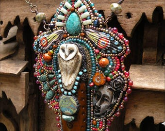 One Day I, Too, Shall Have Wings |  Soulful, poignant, bead embroidered necklace with Laura Mears owl, stoneware details