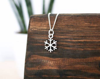 Silver Snowflake Necklace • Mothers Day present gift for mum wife girlfriend, sterling jewellery, charm, skiing, snowboarding, frozen