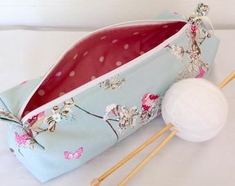 Knitting Bag, Beautiful Birds Knitting Needle Case, Knitting Bag, Crochet Bag, Knitting Project, Pencil Case, Craft Bag, Knitting Needles
