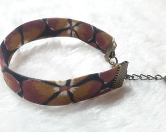 Liberty bracelet bronze purple & Black flowers