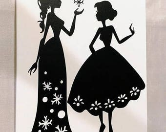 Anna and Elsa on canvas- size 8x10x.5