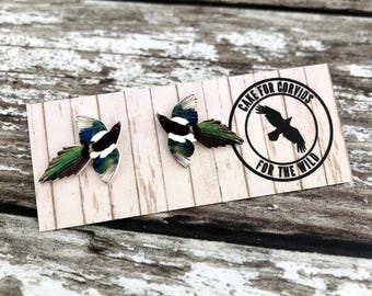 Magpie Earrings, Magpie Studs, Magpie Jewellery, Magpie Jewelry, Animal Studs, Bird Earrings, Bird Jewellery, Bird Jewelry