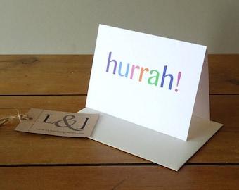 Congrats Card - Hooray - Engagement Card - Just Engaged - Hurrah - Congratulation Card - Pastel - Cute Card - Well Done - Congratulations