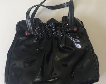 60s Black Patent Leather Gathered Handbag with Bakelite Details