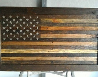 Wooden American Flag Wall Hanging framed american flag | etsy