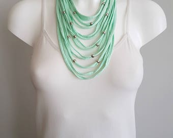 T shirt necklace, fabric necklace, multi strand necklace , mint necklace, upcycled jewelry