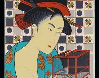 Mark Coomer Serigraph Geisha Japanese Japan Print Vintage Art Silkscreen Screenprint Silkscreen