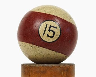 "No. 15 Pool Ball Brunswick Ivorylene Billiard Ball Size 2.25"" Stone Clay Fifteen XV Stripe Stripes Striped"