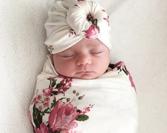 Baby Turban Hat in Creamy and Pink Floral, Turban Bun Hat, Turban Top Kbot Hat, baby beanie, Baby Hat, Baby Turban