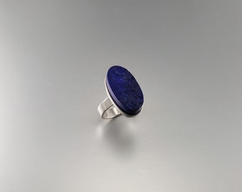 Raw stone oval big royal blue Lapis Lazuli ring with Sterling silver - gift idea - unique design - royal blue AAA Grade afghan Lapis stone