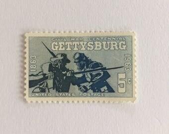 10 Vintage 5c US postage stamps - Civil War Centennial Gettysburg 1963 - Pennsylvania blue gray history- unused