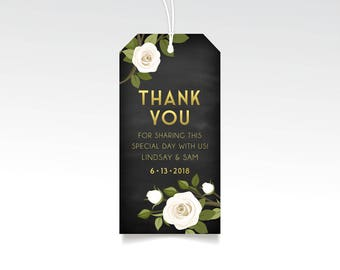 Thank You Wedding Favor Gift Tags . White Pink Rose Garland Greenery . Art Deco Floral Gold & Navy Chalkboard . Hang Tag Printed with String