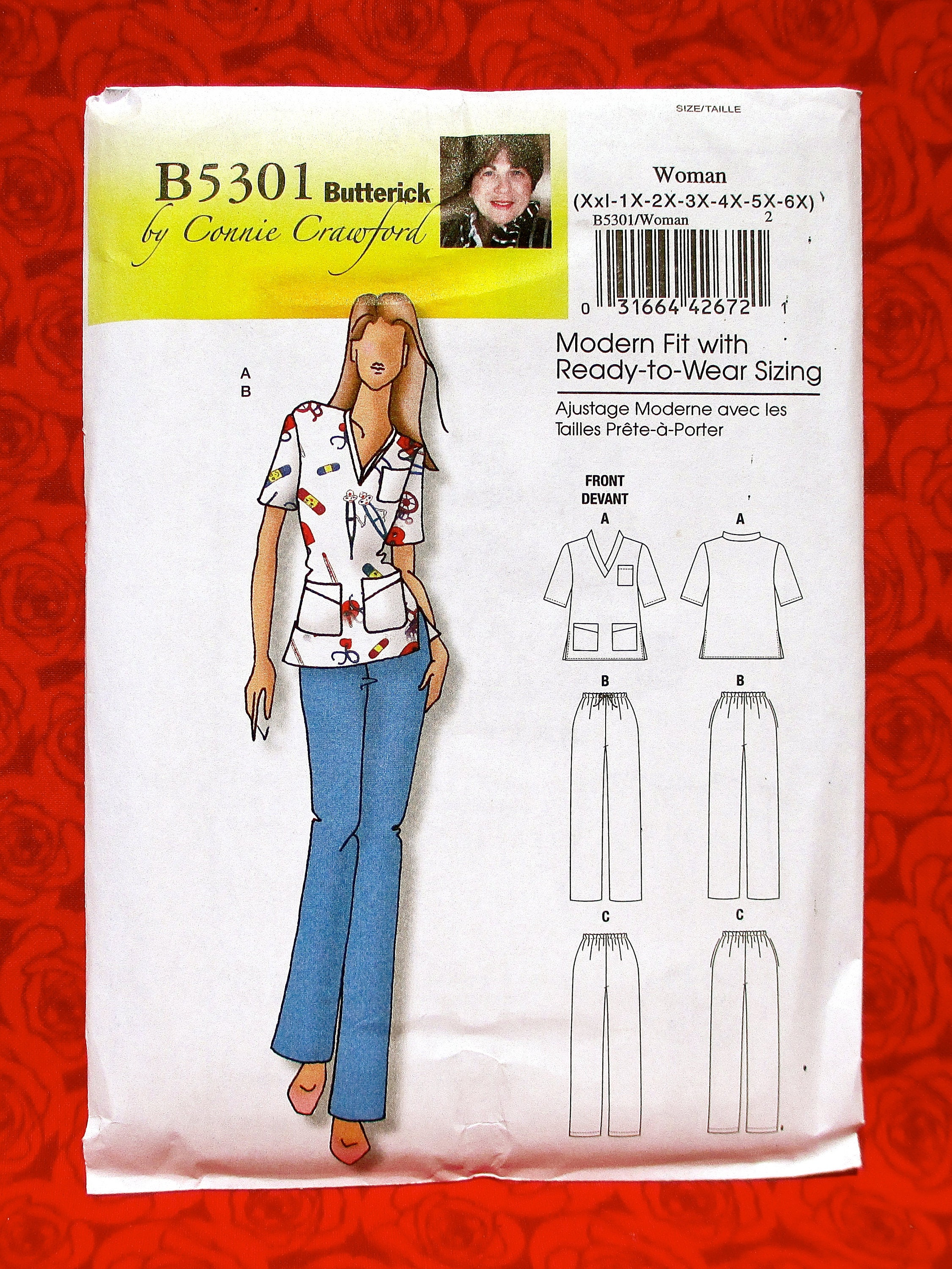 butterick sewing pattern b5301 scrubs top pants women's