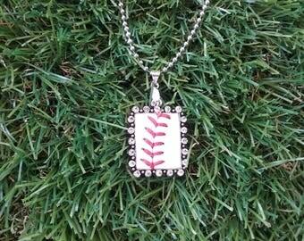 Baseball Necklace- Rhinestone Rectangle
