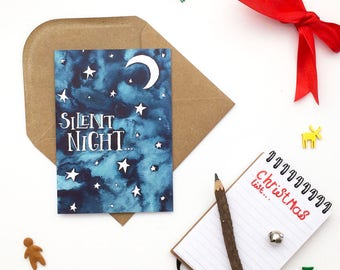 Christmas, Silent Night, Christmas Cards, Illustrations, Watercolour, Greeting Cards, Navy Blue, Christmas Card, Typography, Greeting Card,