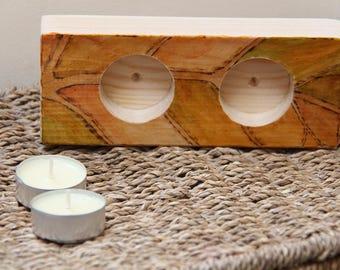 Wood candle holder - autumn leaf - seasonal gift