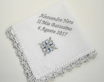 Personalized Baptism handkerchief Christening hankie Baptism hankie Baptism Personalized gift for Godfather and Godmother godparents gift