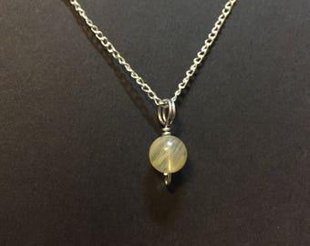 Tiny Yellow Tourmaline Charm Necklace