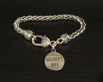 Soldier's Wife Engraved Fashion Bracelet