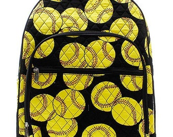 Softball Print Large Quilted Backpack Free Monogramming