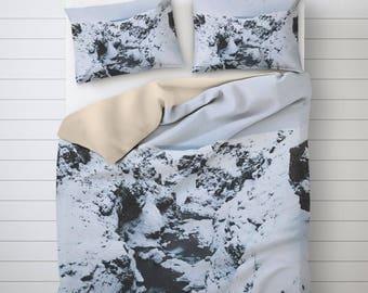 Snowy Landscape Iceland Duvet Cover, White Duvet Cover, Nordic Bedding, Soft Duvet Cover, Photo Print, Bedding Sets