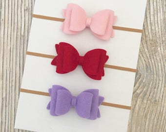 Felt bow headband, Set of felt bow headbands, Baby bows, Baby bow headband, Newborn headband, Baby girl hair, Felt bow hair clips, Felt bows
