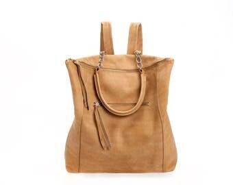Camel Leather Backpack / Top Handle Tote Bag / Oversize Purse / Unisex Laptop Bag / School Bag / Brown Handbag / Shoulder Bag - Vitaly