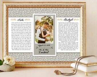 Anniversary Gift, Personalized Birthday Gift, Framed Wedding Vows, Wedding Vow Print, Wedding Vow Keepsake, Wedding Vow Art