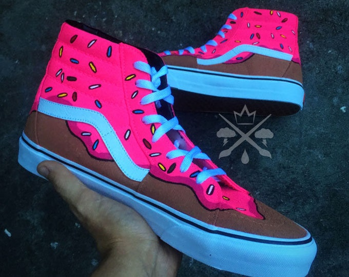 The Simpsons Pink Sprinkle Doughnut Custom Classic SK8-Hi Vans Sneakers