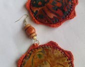 Multi-Color African Print, Fabric, Crochet, Beaded, Dangling, Hoop, Hip Hop Earrings