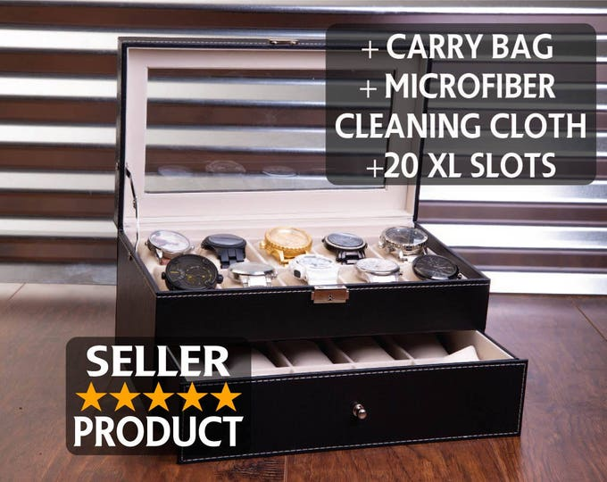 20 Slot Watch Box Case, Sunglass Watch Storage, Watches Organizer, Engraved and Personalized Jewelry Box, Men's Christmas Gift, Groomsman