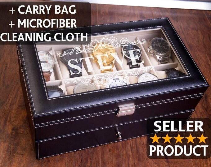 EXTRA LARGE 20 Piece Watch Box, 20 XL Slots, Watch Organizer, Watch Case, Engraved Watch Box, Personalized Watch Box,20 Slot Jewelry Storage