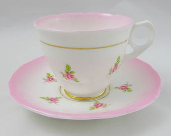 Royal Stafford Pink Tea Cup and Saucer with Small Pink Roses, Vintage Bone China