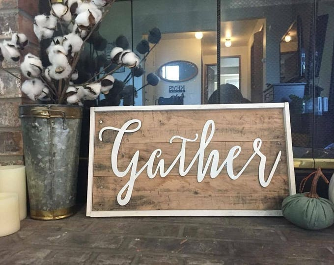 Gather, Word Signs, Thanksgiving Decor, Farmhouse Decor, Rustic Sign, Fixer Upper Style, Rustic Living Room Decor, Harvest, Shabby chic art