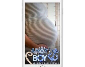 Custom Snapchat Geofilter, Nautical Babyshower Snapchat Filter, Sailor Ahoy it's a Boy!