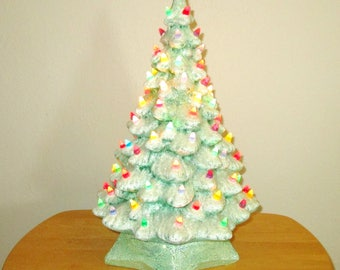"""Vintage 18"""" Green GLITTERY Ceramic Christmas Tree & Base White Flocked Snow on Tips, Lighted Multi Color Twist Bulbs Dated 1965 Bling Gift"""
