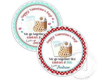 "Valentine's Cookies & Milk  2.5"" Printable Tags-Valentines Personalized Valentine's gift tag-stickers-Choose your Color (you print)"