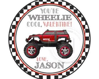 "Valentine's 2.5"" Printable Tags-""Wheelie"" Cool-Monster Truck- Valentine Tags-Personalized Valentine's gift tag-stickers-Printable tags"