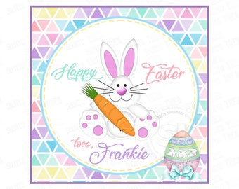 """Custom Easter Bunny - Easter Egg Printable 2.5"""" Tags-Happy Easter-Pastels- D.I.Y Tags- Personalized Stickers (You Print) 2.5"""" tags"""