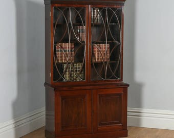 Antique English Georgian Style Mahogany Glazed Bookcase Cupboard (Circa 1900)