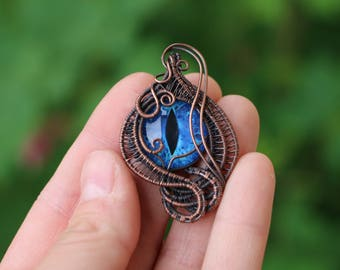 Blue Eye Wire Wrap Pendant, Wire Wrap Jewelry