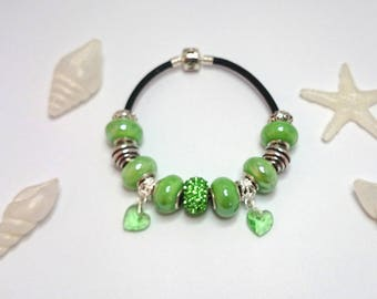 Bracelet charm's green leather with ref 473 Crystal hearts