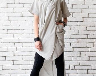 NEW Light Grey Asymmetric Tunic/Extravagant Summer Top/Plus Size Tunic Top/Grey Long Shirt/Short Sleeve Casual Tunic/Grey Oversize Tunic Top