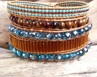 Bracelet cuff wrap 5 turns brown and turquoise  blue leather jewelry Boho By Dodie